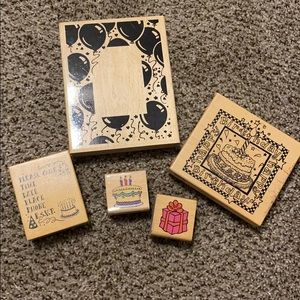 Bundle of Birthday Rubber Stamps